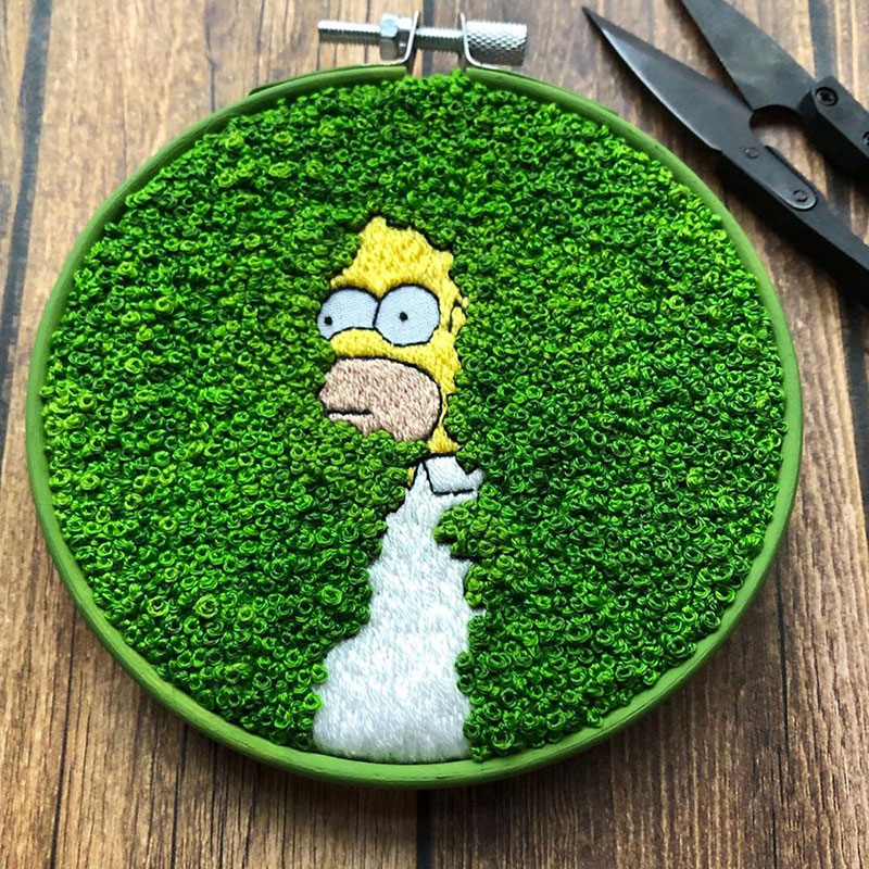 homer simpson bush embroidery 2 This Homer Simpson Embroidery is Perfect
