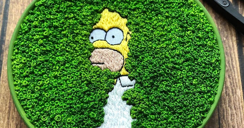 This Homer Simpson Embroidery is Perfect