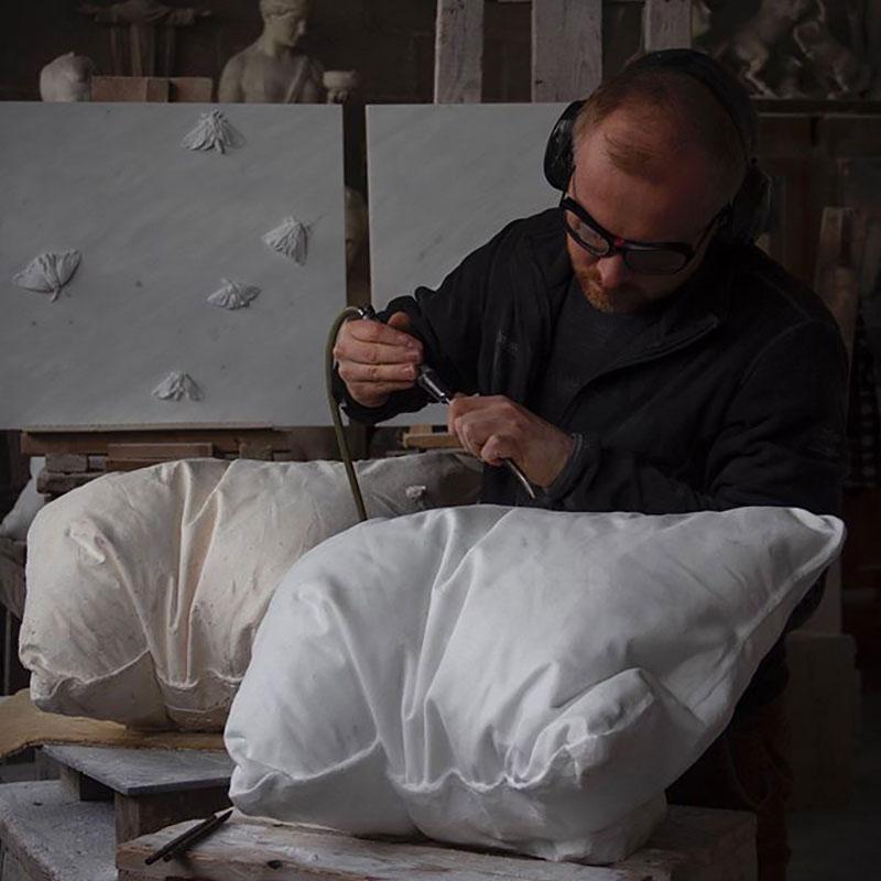 marble pillow sculptures by hakon anton fageras 3 Marble Pillows Chiseled by Hakon Anton Fageras