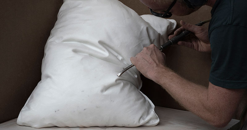 Marble Pillows Chiseled by Hakon Anton Fageras