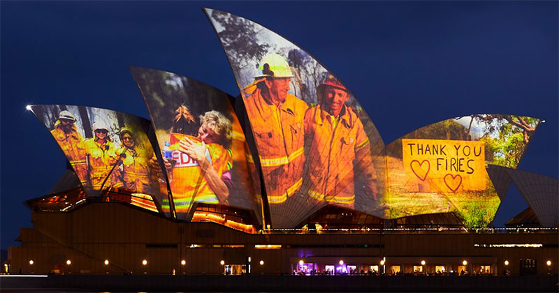 sydney opera house thank you message firefighters cover The Sydney Opera House Says Thank You to the Brave Firefighters