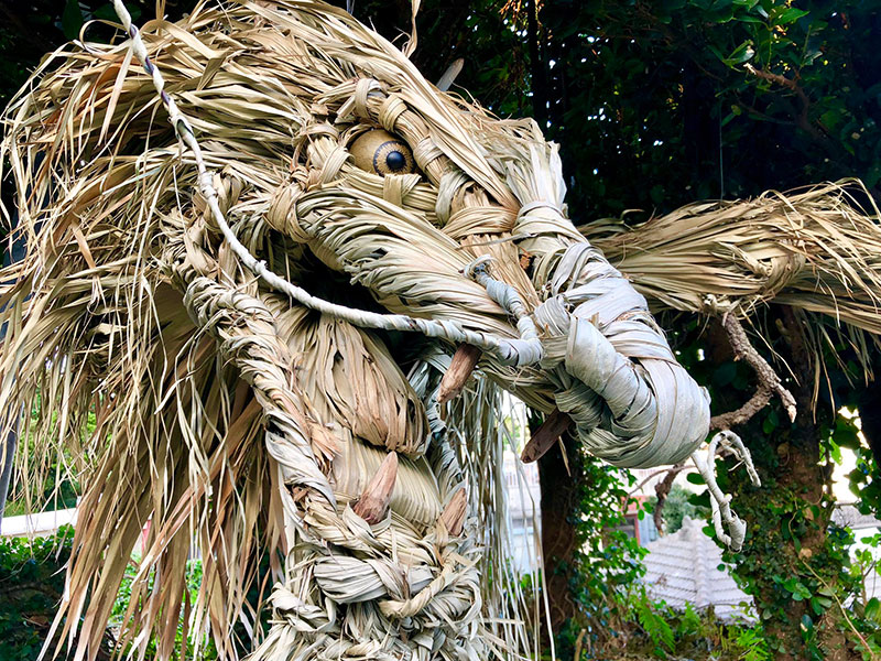 dragon made from palm tree leaves japan by ayako 5 This Awesome Dragon Made From Palm Tree Leaves (5 Photos)