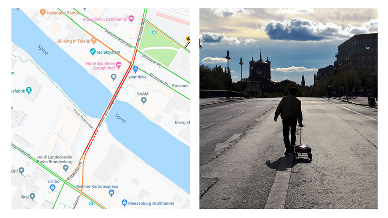google maps hacks by simon weckert 5 Guy Hacks Google Maps With 99 Phones and a Little Red Wagon