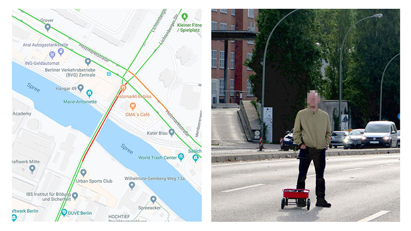 google maps hacks by simon weckert 6 Guy Hacks Google Maps With 99 Phones and a Little Red Wagon
