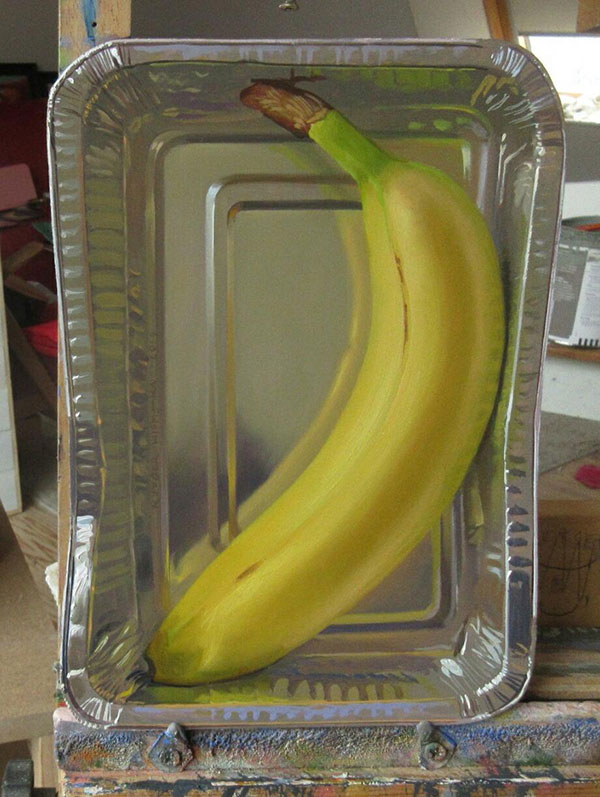 hyperrealistic banana oil painting by rutger hiemstra 2 This Oil Painting on a Flat (but Not Rectangular) Panel is Bananas
