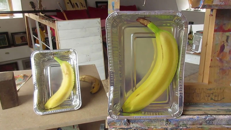 hyperrealistic banana oil painting by rutger hiemstra 3 This Oil Painting on a Flat (but Not Rectangular) Panel is Bananas