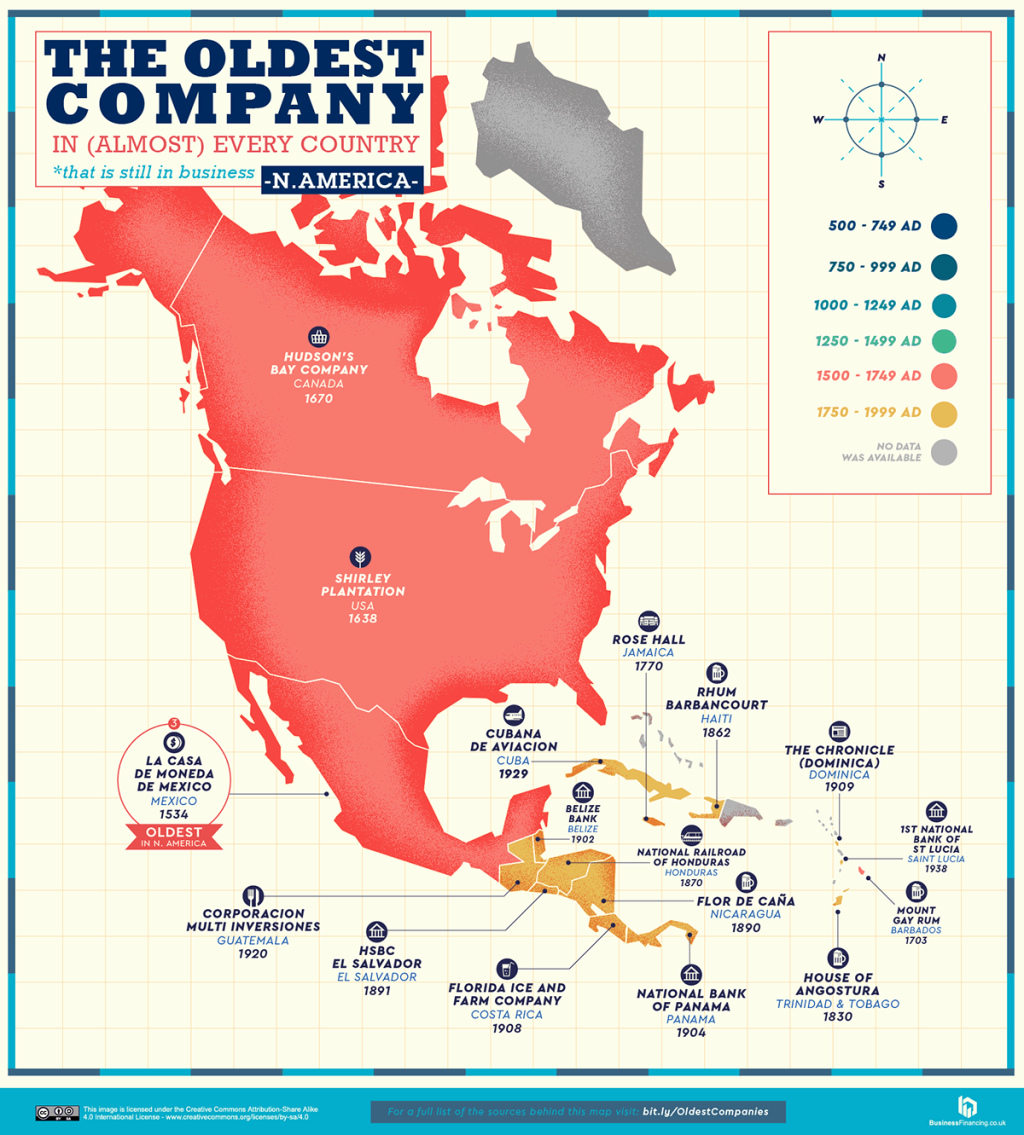 oldest company in every country map 5 A World Map of the Oldest Company in Every Country (Still in Business)
