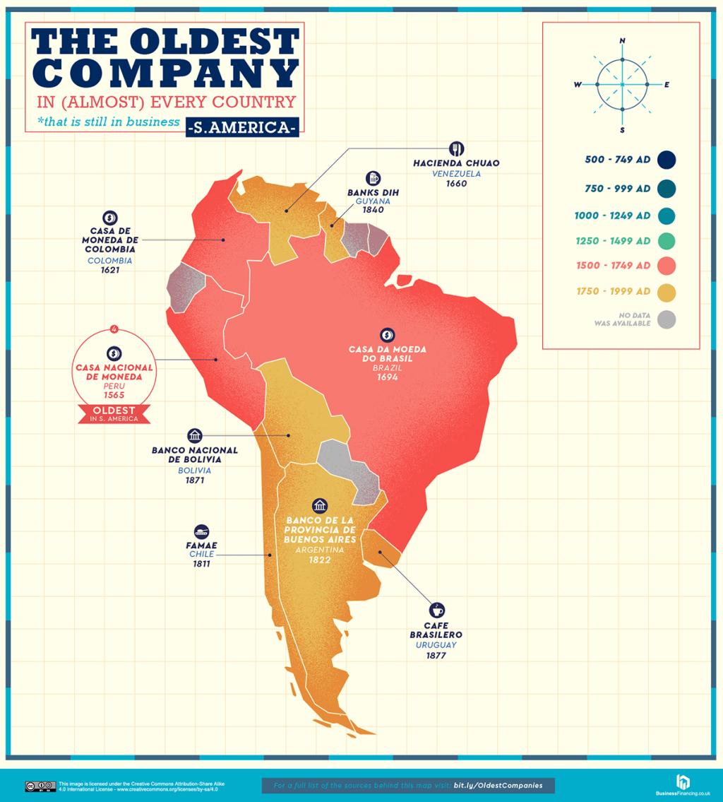 oldest company in every country map 7 A World Map of the Oldest Company in Every Country (Still in Business)
