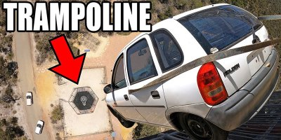 Just In Case You've Never Seen a Car Dropped 150 ft Onto aTrampoline