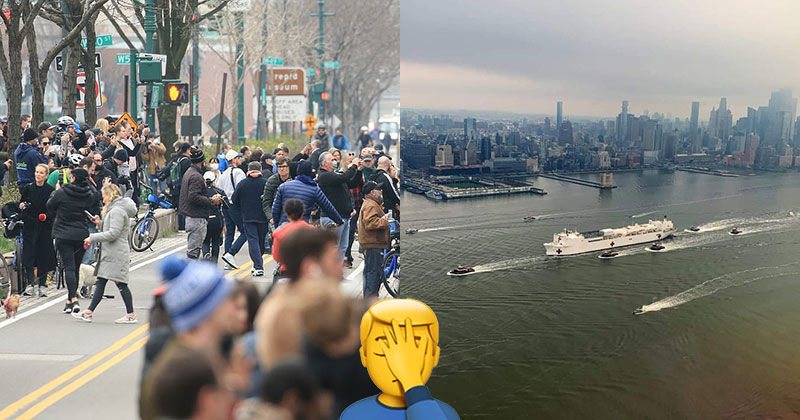 Large Crowds Gather in New York to Watch Arrival of US Navy HospitalShip