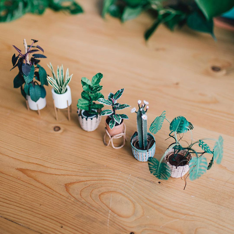 miniature paper potted plants by raya sader bujana 7 These Miniature Potted Plants Made from Paper are Just Adorable