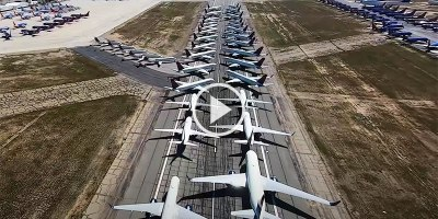 This Flyover of Parked Jets During the Pandemic is Simply Unbelievable