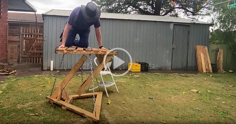 Guy Uses Chains to Build a Tensegrity Table You Can Actually Climb On