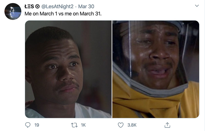 "march 1 vs march 31 april 1 meme best of 18 These ""March 1 vs April 1"" Posts Perfectly Capture How Intense the Last Month Was"
