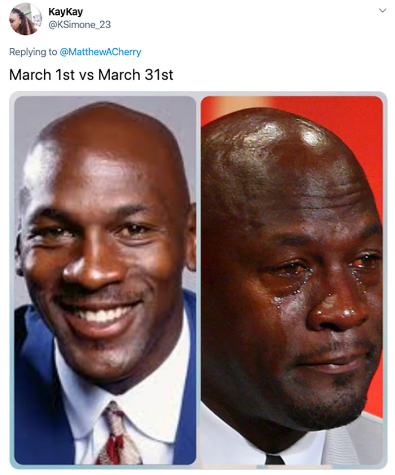 "march 1 vs march 31 april 1 meme best of 49 These ""March 1 vs April 1"" Posts Perfectly Capture How Intense the Last Month Was"