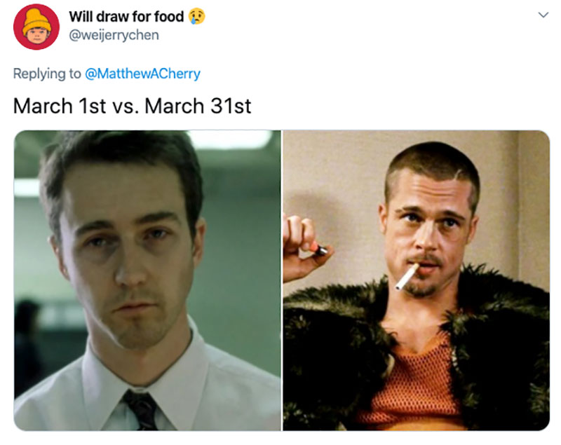 "march 1 vs march 31 april 1 meme best of 58 These ""March 1 vs April 1"" Posts Perfectly Capture How Intense the Last Month Was"