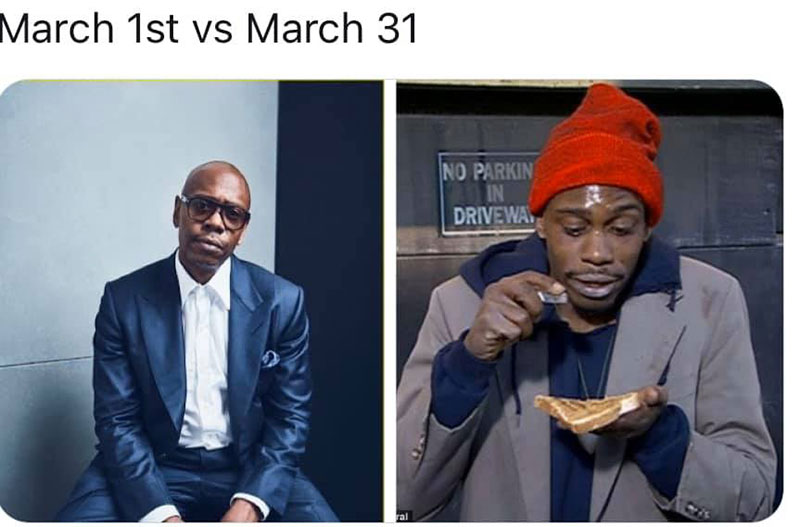 "march 1 vs march 31 april 1 meme best of 8 These ""March 1 vs April 1"" Posts Perfectly Capture How Intense the Last Month Was"