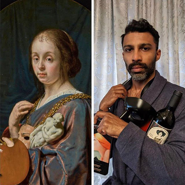 people recreating famous paintings at home getty museum challenge 40 People Stuck at Home are Recreating Famous Paintings and Its Awesome