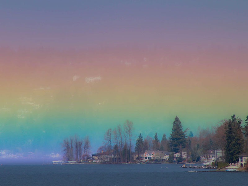 photographer captures rare horizontal rainbow Photographer Captures Breathtaking Horizontal Rainbow Over Lake Sammamish