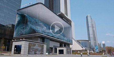 Amazing Crashing Wave Illusion Gets Displayed on Largest Outdoor Screen inKorea