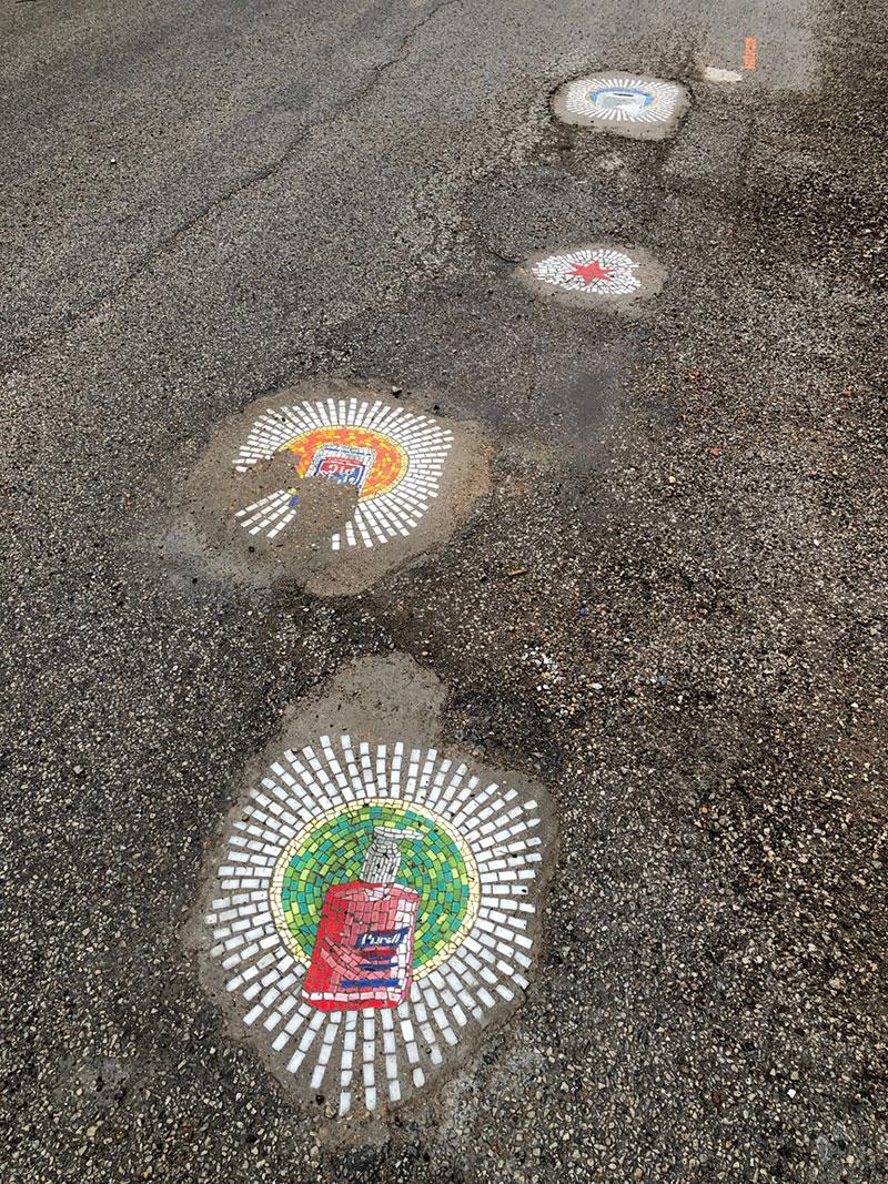 jim bachor repairs potholes with quarantine mosaics 4 Chicago Artist Repairs Four Big Potholes with Amazing Quarantine Mosaics