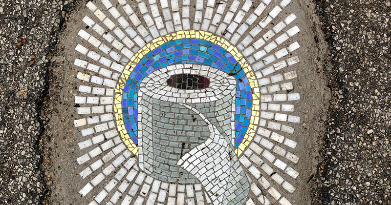 Chicago Artist Repairs Four Big Potholes with Amazing Quarantine Mosaics