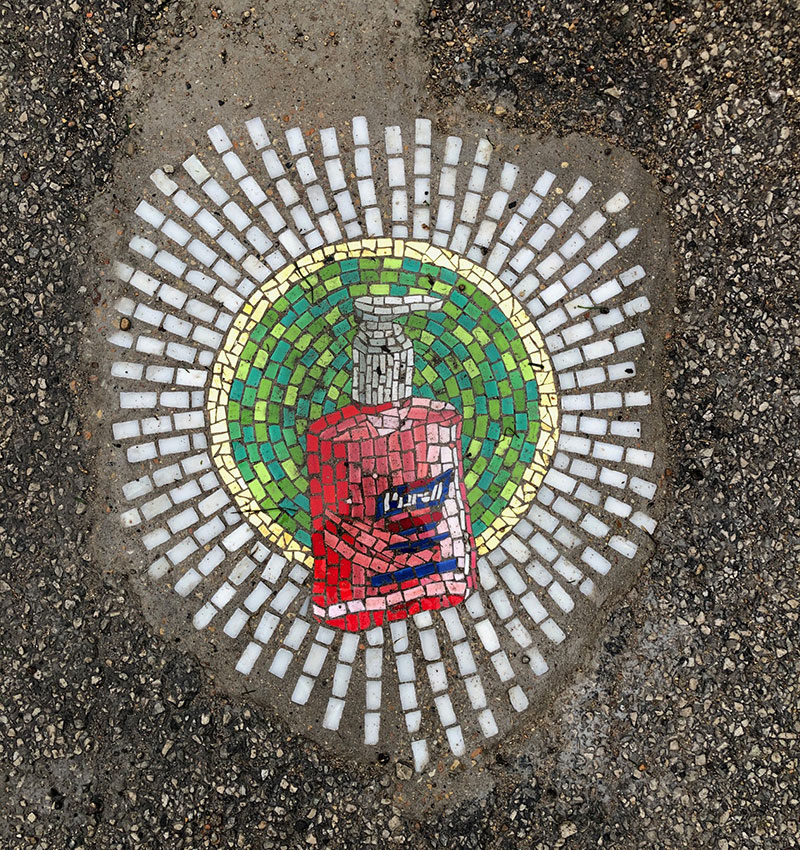 jim bachor repairs potholes with quarantine mosaics 7 Chicago Artist Repairs Four Big Potholes with Amazing Quarantine Mosaics