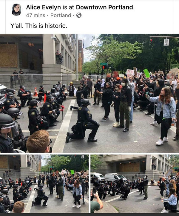 police officers are standing kneeling marching in solidarity 10 Across the Country, a Few Brave Police Officers are Standing in Solidarity
