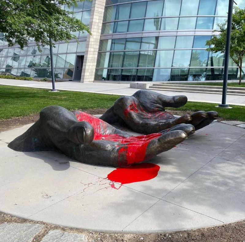serve and protect sculpture red paint salt lake city protests 2020.jpg3  Red Paint Completely Changed This Serve and Protect Sculpture During the Protests