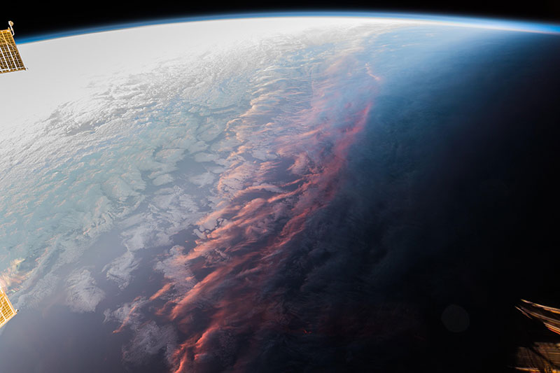 sunset on earth from above spcae iss This is What a Sunset on Earth Looks Like From Space