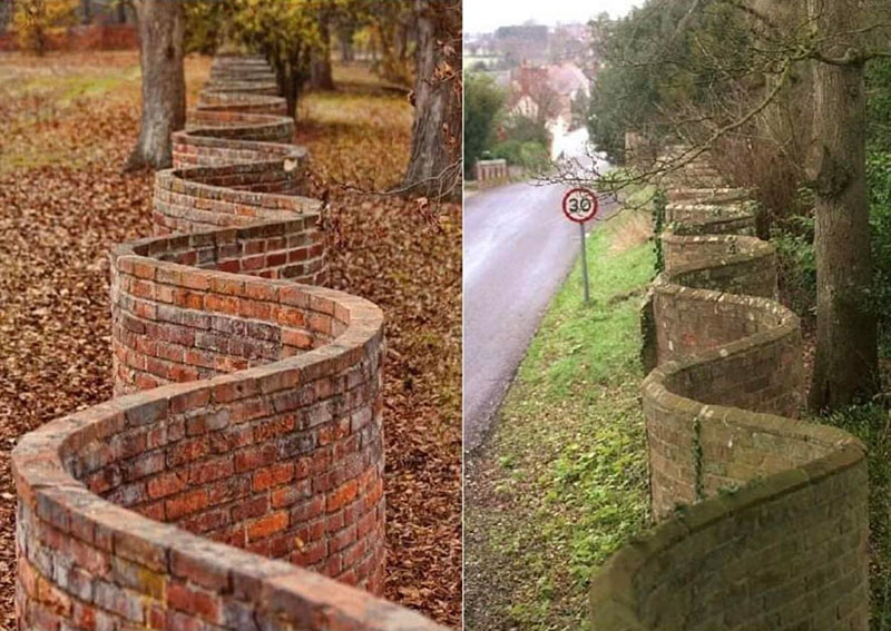 wavy crinkle crankle walls use less brick than straight walls 2 Popularized in England, These Wavy Walls Actually Use Fewer Bricks Than a Straight Wall