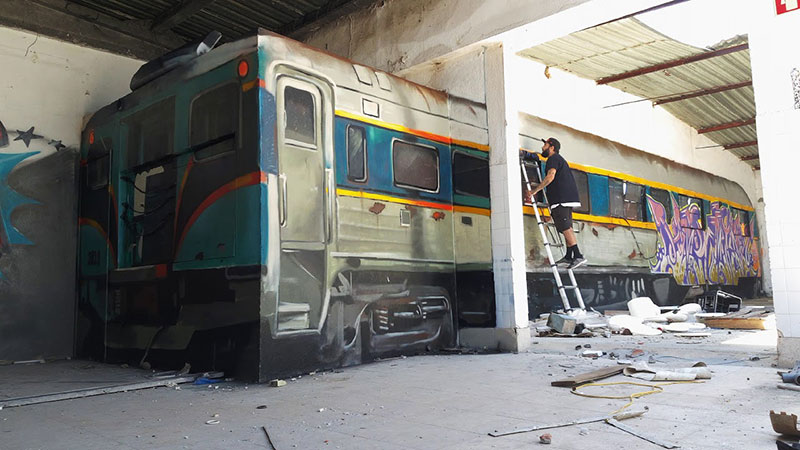 3d street art train by odeith 8 A Little Paint Can Turn This Into That
