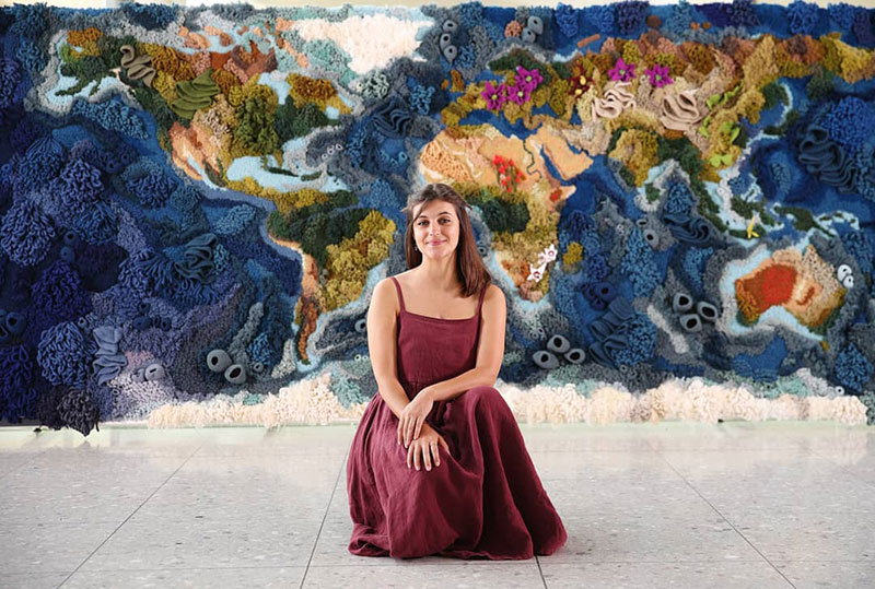 knit yarn wool tapestry of the world map by vanessa barragao 00001 Handmade from Recycled Wool, this 20 ft Long Tapestry of the World is Incredible