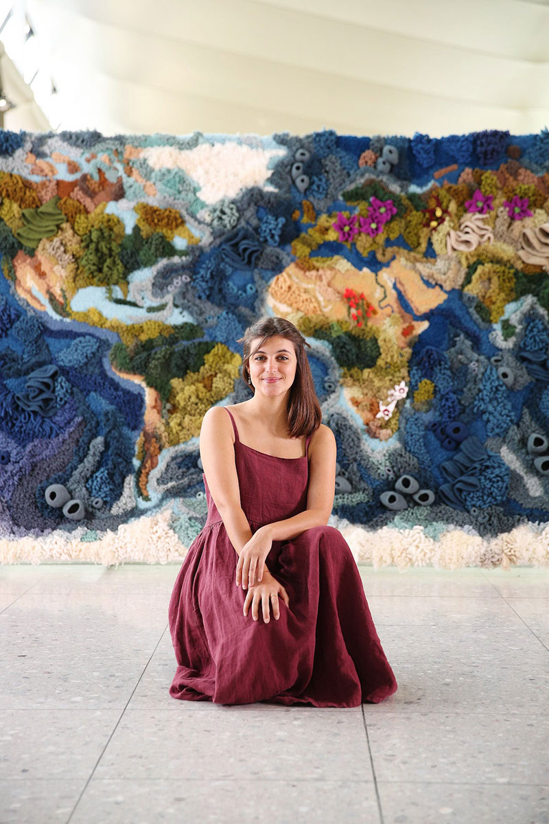 knit yarn wool tapestry of the world map by vanessa barragao 00004 Handmade from Recycled Wool, this 20 ft Long Tapestry of the World is Incredible