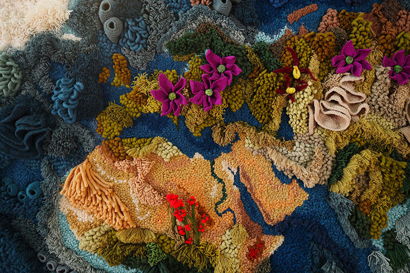 knit yarn wool tapestry of the world map by vanessa barragao 00007 Handmade from Recycled Wool, this 20 ft Long Tapestry of the World is Incredible