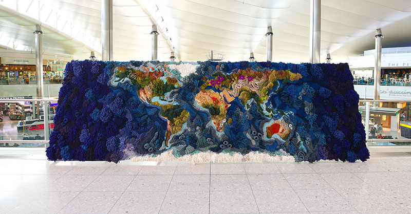 knit yarn wool tapestry of the world map by vanessa barragao 00008 Handmade from Recycled Wool, this 20 ft Long Tapestry of the World is Incredible