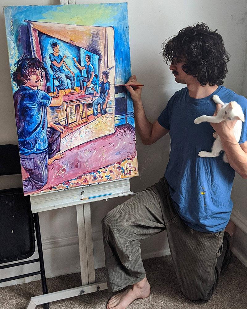 painting recursive self portraits by seamus wray 2 This Artist Keeps Painting Himself, Painting Himself, Painting Himself...