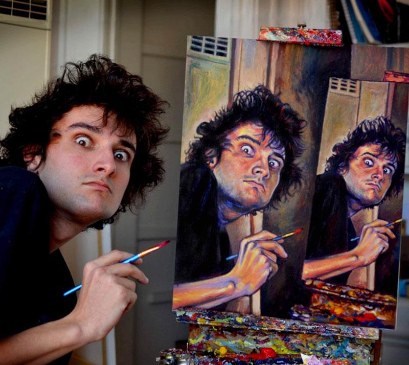 painting recursive self portraits by seamus wray 4 This Artist Keeps Painting Himself, Painting Himself, Painting Himself...