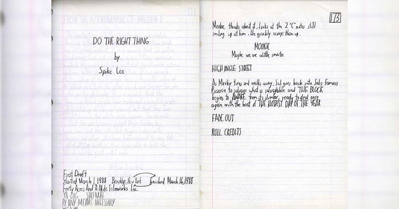 "Spike Lee's ""Do the Right Thing"" Screenplay, Handwritten in March of 1988"