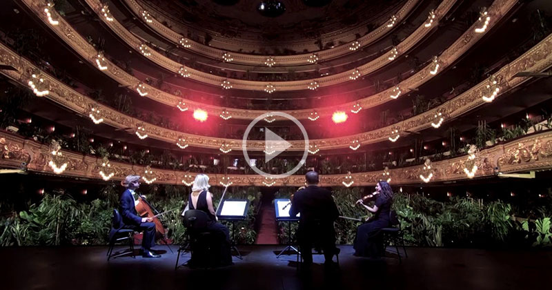 The Surreal Barcelona Opera House Performance to a Full Theatre of Plants