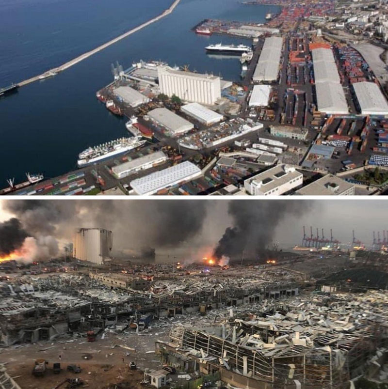 2020 beirut explosion before and after The Terrifying Beirut Explosion as Captured and Experienced by People Across the City