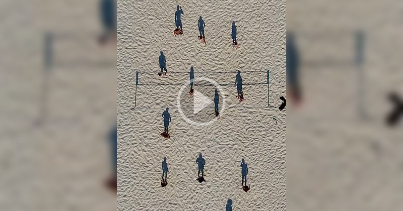 This Overhead Video of a Beach Volleyball Game Looks Like Shadows Playing