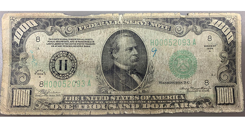 Teller Shares Photo of Rare $1000 Bill a Customer Brought in to Deposit