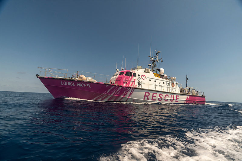 banksy rescue boat 2 Banksy Uses Art Sales to Fund High Speed Lifeboat and Rescue Refugees Stranded at Sea