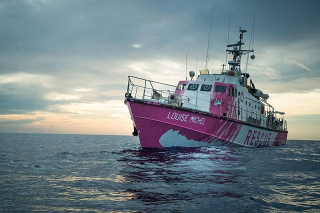 banksy rescue boat 9 Banksy Uses Art Sales to Fund High Speed Lifeboat and Rescue Refugees Stranded at Sea