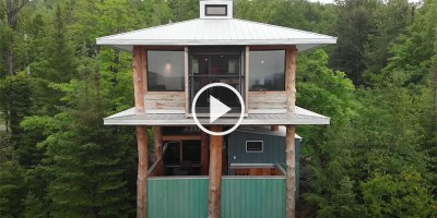 Amazing 2 Story Treehouse Built From 20 Years of Collecting Scrap Materials