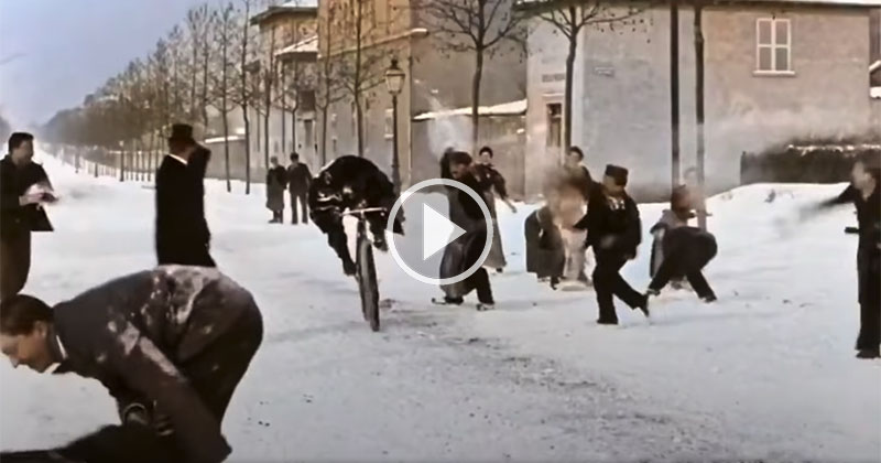 Someone Colorized and Upscaled a Snowball Fight from 1896 and It'sAmazing
