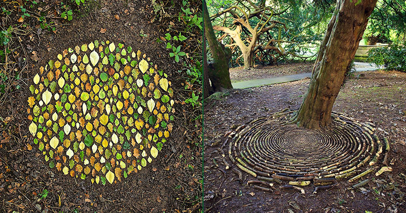 James Brunt Uses Fall Foliage to Create Temporary Works of EarthArt